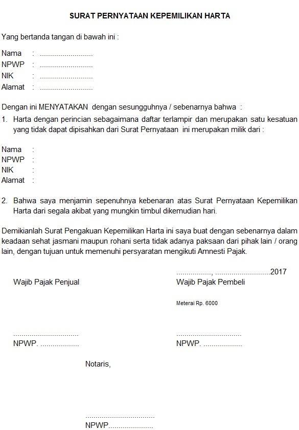 Contoh Surat Pernyataan Kepemilikan Harta